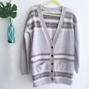 Gap Wool Gray, Brown & Beige Wool Cardigan Sweater
